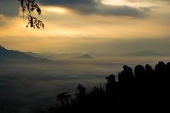 Foschia sopra le montagne Fotografie Stock