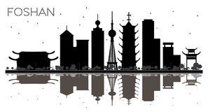 Foshan China City skyline black and white silhouette with Reflections. vector illustration
