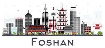 Foshan China City Skyline with Gray Buildings Isolated on White. royalty free illustration