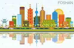 Foshan China Skyline with Color Buildings, Blue Sky and Reflections. vector illustration