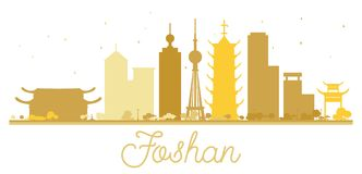 Foshan City skyline golden silhouette. Vector illustration. Simple flat concept for tourism presentation, banner, placard or web site. Cityscape with landmarks