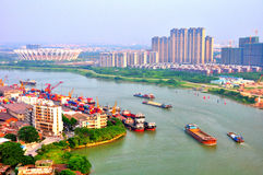 Foshan-Flusslandschaft heute Stockfotos
