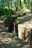 Fosos en el museo de madera del santuario en la colina 62 Fotografía de archivo