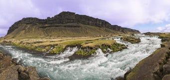 Fossálar River Rapids Panoramic Royalty Free Stock Photos