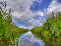 Fossa d'acqua dolce nel paesaggio olandese del ploder Immagini Stock Libere da Diritti