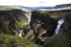 fossardalur冰岛谷瀑布 免版税库存图片