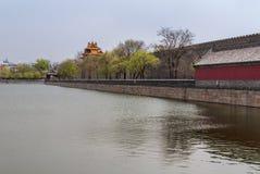 Fossato e ramparst della Città proibita Pechino Immagine Stock