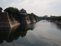 Fossato intorno al castello a Osaka Fotografie Stock Libere da Diritti