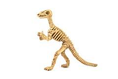 Fossiel die het skeletstuk speelgoed van de Iguanodondinosaurus op wit wordt geïsoleerd Royalty-vrije Stock Afbeeldingen