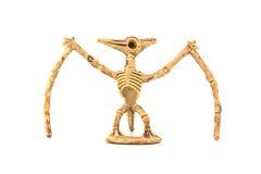 Fossiel die het skeletstuk speelgoed van de Pterosaurdinosaurus op wit wordt geïsoleerd Royalty-vrije Stock Foto