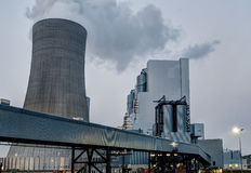 Fossil energy power plant at dusk Stock Photography