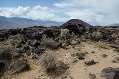 Fossil Falls formed years ago when the Owens River carved through the volcanic basalt rocks in the Eastern Sierra Nevada of. California stock photo