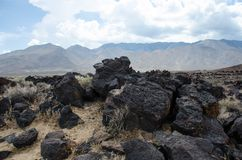 Fossil Falls formed years ago when the Owens River carved through the volcanic basalt rocks in the Eastern Sierra Nevada of. California stock images