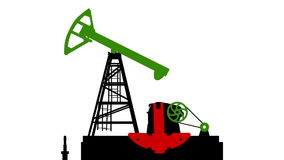 Fossil fuel energy, oil pump  isolated on white background.  with B&W matte. stock footage