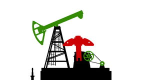 Fossil fuel energy, oil pump  isolated on white background. stock video footage