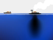 Fossil fuel is leaked from the ship to blue ocean. Sea environment crisis concept Royalty Free Stock Image