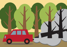 Fossil Fuel Pollution. An environmental metaphor about fossil fuel pollution. A car passing a forest with the trees behind the fumes, black and dead looking Royalty Free Stock Image
