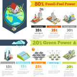 Fossil-fuel power and renewable energy generation infographics. Power generation infographic, electricity energy power generation, plant renewable power Stock Image