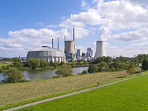 Fossil-fuel power station. A working fossil-fuel power station in Grosskrotzenburg, Hesse, Germany. Power station called Staudinger Kraftwerk, operator: EON Royalty Free Stock Photos