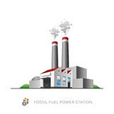 Fossil fuel power station. Isolated fossil fuel power station on white background in cartoon style Royalty Free Stock Photos