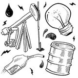 Fossil fuels objects sketch Royalty Free Stock Photos