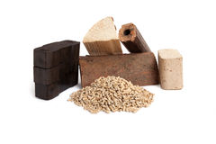 Fossil fuels, wooden pellets, firewood, briquettes, carbon Stock Image