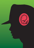 Fossil mind. Stress inside a mind of woman profile with hat Royalty Free Illustration