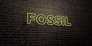 FOSSIL - realistische Leuchtreklame auf Backsteinmauerhintergrund - 3D übertrug freies Archivbild der Abgabe Stockbild