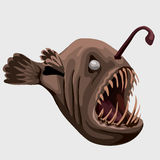 Fossil toothy brown fish lamp, image isolated. Flat toothy fish lamp, character or icon for your design needs Royalty Free Stock Images