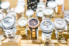 Fossil Watches In Shop Window Royalty Free Stock Photo