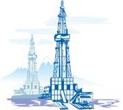 Fossila bränslenproduktion, borranderigg vektor illustrationer