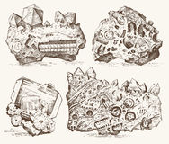 Fossilized plants, stones and minerals, crystals, prehistoric animals, archeology or paleontology. fragment fossils. Engraved hand drawn in old sketch and Royalty Free Stock Photography