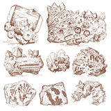 Fossilized plants, stones and minerals, crystals, prehistoric animals, archeology or paleontology. fragment fossils. Engraved hand drawn in old sketch and Stock Photography