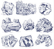 Fossilized plants, stones and minerals, crystals, prehistoric animals, archeology or paleontology. fragment fossils. Engraved hand drawn in old sketch and Royalty Free Stock Image