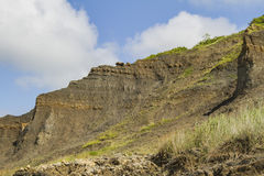 Fossill cliff Villers sur mer. Géological and and fossil cliff of Villers sur mer in Normandy Stock Photos