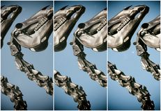 Dinosaur heads in panels royalty free stock photos