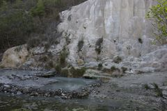 Fosso Bianco rock formation in Tuscany Stock Photos