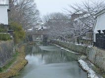 Fosso de Hachiman na neve do inverno, Shiga, Japão Foto de Stock Royalty Free