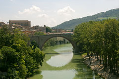 Fossombrone (Marches, Italy) - Bridge and river Royalty Free Stock Photo