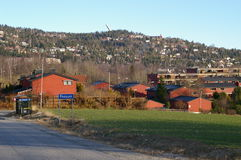 Fossum Baerum Norway. View of red buildings and mountainside structures from Fossum, located in Baerum, Norway Stock Photo