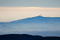 Foster tower in Tibidabo, Barcelona. View from Montseny Stock Photos