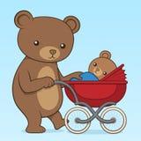 Fostra björnen som skjuter hennes gröngöling i en barnvagn royaltyfri illustrationer
