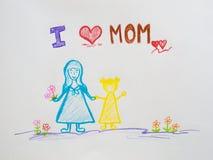 Fostra dagbegreppet för ` s Dag för mödrar för hälsningkort som lycklig dras av p arkivbild