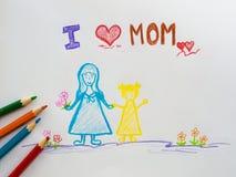 Fostra dagbegreppet för ` s Dag för mödrar för hälsningkort som lycklig dras av p royaltyfri foto