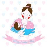 Fostra dagillustrationen för ` s med den gulliga mamman och behandla som ett barn på hjärtabakgrund Fotografering för Bildbyråer
