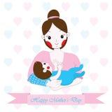 Fostra dagillustrationen för ` s med den gulliga mamman och behandla som ett barn på vit bakgrund Arkivbilder