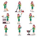 Fostra dagliga rutinmässiga aktiviteter, det toppna mammabegreppet, vektorillustrationer royaltyfri illustrationer