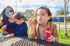 Fostra dottern, och sonen på parkerar att blåsa bubblor Royaltyfri Fotografi