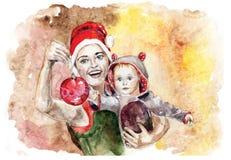 Fostra och barnet nytt år Arkivfoton
