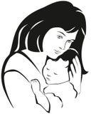 Fostra och behandla som ett barn symbolet, den hand drog konturn lyckliga mödrar för dag Royaltyfri Bild